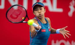 October 12, 2018 - Hong Kong, China - SHUAI ZHANG of China in action against Daria Gavrilova of Australia during their quarter-final match at the 2018 Prudential Hong Kong Tennis Open WTA International tennis tournament. Zhang won 6:1, 6:3.  (Credit Image: © AFP7 via ZUMA Wire)