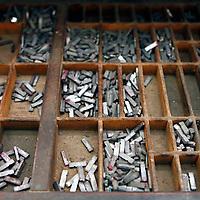Central America, Cuba, Caibarien. Type Letter Press Block Cases in Cuban Print Shop.
