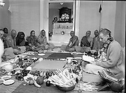 Hare Krishna Initiation, Dublin.02.05.1982..05.02.1982.2nd May 1982.1982.At the Hare Krishna Temple,Castlefield House,Knocklyon Rd,Templeogue,Dublin,new members are initiated into the Hare Krishna movement. The initiation was conducted by Guru His Divine Grace, Srila Satswarupa Das Goswami..Hare Krishna members prepare for the initiation ceremony.
