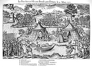 French Religious Wars 1562-1968. The Peace of Amboise, 12 March 1563, which ended the first religious war, held on the Isle de Boeuf, Orleans. Catherine de Medici (1519-1589), A. Louis, Prince de Conde (1530-1569) leader of the Huguenots, B. Constable Anne de Montmorency, Constable of France (1493-1767), C. Francois de Coligny, seigneur d'Andelot (1521-1569), Huguenot commander, D. Engraving by Jacques Tortorel (fl1568-1590) and Jean-Jacques Perrissin (c1536-1617) from their series on the Huguenot Wars, c1570.