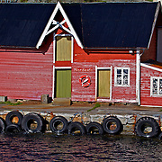 The colorful dock at Nordeide harbor along the scenic Sognefjord in Norway
