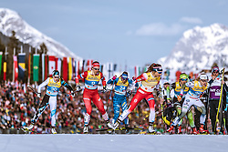 21.02.2019, Langlauf Arena, Seefeld, AUT, FIS Weltmeisterschaften Ski Nordisch, Seefeld 2019, Langlauf, Damen, Sprint, im Bild v.l.: Mariel Merlii Pulles (EST), Natalia Nepryaeva (RUS), Elisa Brocard (ITA), Maiken Caspersen Falla (NOR), Jonna Sundling (SWE) // f.l.: Mariel Merlii Pulles of Estonia Natalia Nepryaeva of Russian Federation Maiken Caspersen Falla of Norway Jonna Sundling of Sweden during the ladie's Sprint competition of the FIS Nordic Ski World Championships 2019. Langlauf Arena in Seefeld, Austria on 2019/02/21. EXPA Pictures © 2019, PhotoCredit: EXPA/ Dominik Angerer