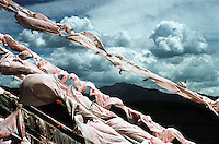 """China, Anye Machen, 2007. Prayer flags at a Qinghai """"mani ka,"""" or prayer hill. Inscribed with verse, and tied to the highest places men can reach, prayers are released to heaven each time the wind blows.."""