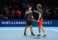 Tennis - 2018 Nitto ATP Finals at The O2 - Day Eight<br /> <br /> Final Singles: Novak Djokovic (SRB) vs. Alexander Zverev (GER)<br /> <br /> Djokovic crosses the net to salute Zverev after he claims the title 6-4, 6-3.<br /> <br /> COLORSPORT/ASHLEY WESTERN