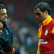 Galatasaray's  Johan Elmander (R) during their UEFA Champions League Group H matchday 3 soccer match Galatasaray between CFR Cluj at the TT Arena Ali Sami Yen Spor Kompleksi in Istanbul, Turkey on Tuesday 23 October 2012. Photo by Aykut AKICI/TURKPIX