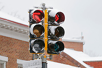 Snow  covered traffic signal, Annapolis, Maryland.