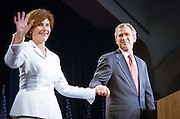 Texas Gov. George W. Bush and his wife Laura during a campaign fundraising event June 22, 1999 in Washington, DC. Bush is the frontrunner for the Republican presidential nomination in the Year 2000.