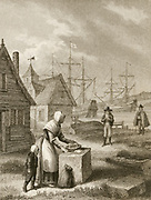 Plague of London 1665: London waterman leaving money and fresh food for his family trapped in the city by Plague.  George Cruikshank  Illustration for  1839 edition of ''A Journal of the Plague Year'' by Daniel De Foe.