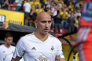 Jonjo Shelvey of Swansea City looks on as he enters the pitch before k/o. Barclays Premier League, Watford v Swansea city at Vicarage Road in London on Saturday 12th September 2015.<br /> pic by John Patrick Fletcher, Andrew Orchard sports photography.