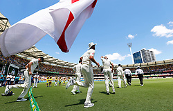 England take the field during day two of the Ashes Test match at The Gabba, Brisbane.