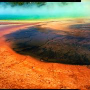 Bacterial mats of the Grand Prismatic Spring, Yellowstone National Park. 4x5 Kodak Ektar 100. photo by Nathan Lambrecht