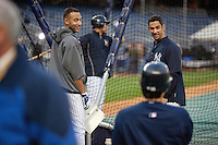 Yankees shortstop Derek Jeter and catcher Jorge Posada warm up prior to Game 2 of the 2009 World Series between the New York Yankees and The Philadelphia Phillies in Bronx, NY. (Photo by Robert Caplin)..
