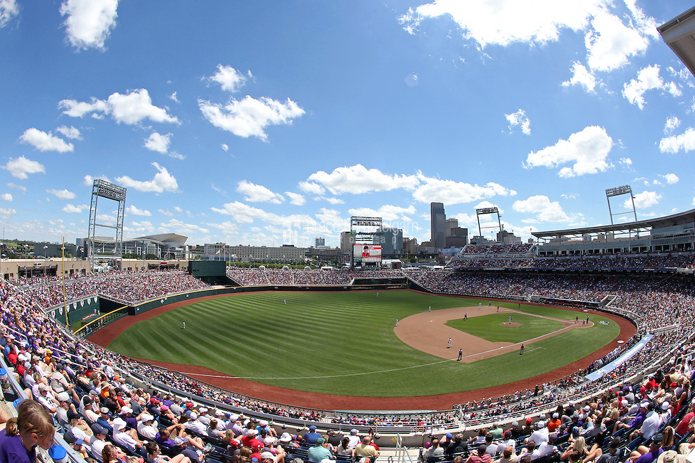 A general view of TD Ameritrade Park during Game 3 of the 2014 Men's College World Series between the Texas Tech Red Raiders and TCU Horned Frogs at TD Ameritrade Park on June 15, 2014 in Omaha, Nebraska. (Brace Hemmelgarn)