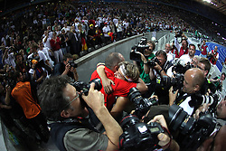 Steffi Nerius of Germany celebrates with her coach winning the gold medal in the women's Javelin Throw Final during day four of the 12th IAAF World Athletics Championships at the Olympic Stadium on August 18, 2009 in Berlin, Germany. (Photo by Vid Ponikvar / Sportida)