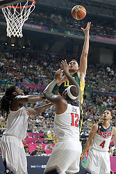 11.09.2014, City Arena, Barcelona, ESP, FIBA WM, USA vs Litauen, Halbfinale, im Bild USA's Kenneth Faried (l) and DeMarcus Cousins (c) and Lithuania's Donatas Motiejunas // during FIBA Basketball World Cup Spain 2014 semi-final match between United States and Lithuania at the City Arena in Barcelona, Spain on 2014/09/11. EXPA Pictures © 2014, PhotoCredit: EXPA/ Alterphotos/ Acero<br /> <br /> *****ATTENTION - OUT of ESP, SUI*****