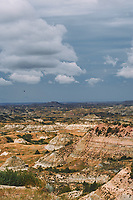 Painted Canyon Panorama. Theodore Roosevelt National Park. Composite of 5 of 9 images taken with a Nikon D3 camera and 85 mm f/2.8 PC-E lens (ISO 200, 85 mm, f/16, 1/40 sec). Raw images processed with Capture One Pro (BM-02 Teton Style). Composite generated with  AutoPano Giga Pro.
