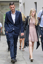 © Licensed to London News Pictures. 24/07/2017. London, UK. CHRIS GARD and CONNIE YATES seen leaving The The Royal Courts of Justice in London AFTER they  withdrew their legal bid for further treatment in their son . The parents of terminally ill Charlie Gard returned to the High Court in light of new evidence relating to potential treatment for their son's condition. An earlier lengthy legal battle ruled that Charlie could not be taken to the US for experimental treatment. London, UK. Photo credit: Ben Cawthra/LNP