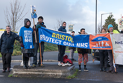 © Licensed to London News Pictures.  23/11/2017; Bristol, UK. Protest at the visit of Jeremy Hunt, Health Secretary, to Callington Road psychiatric hospital in Bristol. The protest was organised by Protect Our NHS and the Wiltshire and Avon Health Branch of Unison the health trade union. Picture credit: Simon Chapman/LNP