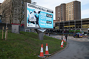 Public health advice advertising campaign featuring Bully the Bull Ring bull wearing a face mask with the slogan Its NO bull. Keep your city safe during national coronavirus lockdown three at Holloway Circus near the city centre on 12th January 2021 in Birmingham, United Kingdom. Following the recent surge in cases including the new variant of Covid-19, this nationwide lockdown, which is an effective Tier Five, came into operation today, with all citizens to follow the message to stay at home, protect the NHS and save lives.