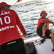 Leg 4, Melbourne to Hong Kong, day 12 on board MAPFRE, Pablo Arrarte talking with Xabi Fernandez. Photo by Ugo Fonolla/Volvo Ocean Race. 13 January, 2018.
