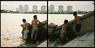Kids going for a swim in Tay Ho, known as West lake. Hanoi