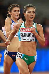 Uzbekistan's Sitora Khamidova competes in the women's 10,000m final during day two of the 2017 IAAF World Championships at the London Stadium. PRESS ASSOCIATION Photo. Picture date: Saturday August 5, 2017. See PA story ATHLETICS World. Photo credit should read: John Walton/PA Wire. RESTRICTIONS: Editorial use only. No transmission of sound or moving images and no video simulation.