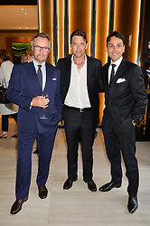 Left to right, FRANCOIS LE TROQUER Executive Director of Watches of Switzerland, actor DOUGRAY SCOTT and BRIAN DUFFY CEO of Watches of Switzerland at the Watches of Switzerland Flagship Store Launch, 155 Regent Street, London on 17th July 2014.