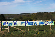 Pont Valley Protector camp ahead of the the day of protest against the mining company Banks outside Dipton in Pont Valley,  4 May 2018, County Durham, United Kingdom. Locals have fought the open cast coal mine for thirty years and three times the local council rejected planning permissions but central government has overuled that decission and the company Banks was granted the license and rights to extract coal in early 2018. Locals have teamed up with climate campaigners and together they try to pevent the mining from going ahead. A rare species of crested newt is said to live on the land planned for mining and protectors are trying to stop the mine to save the newt.