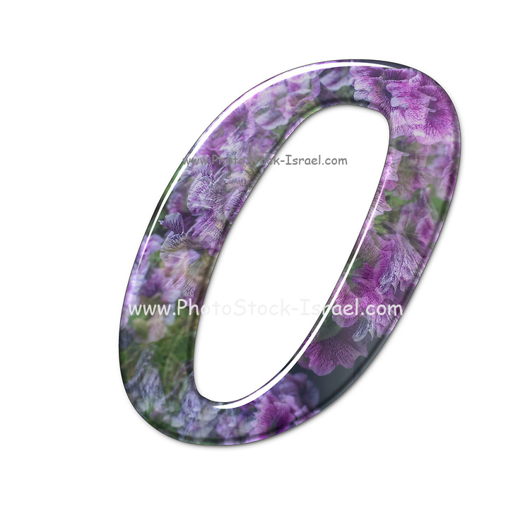 The number Zero Part of a set of letters, Numbers and symbols of 3D Alphabet made with a floral image on white background