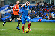Peterborough United striker Jack Marriott (14) with a chance inside the box during the EFL Sky Bet League 1 match between Peterborough United and Southend United at London Road, Peterborough, England on 3 February 2018. Picture by Nigel Cole.