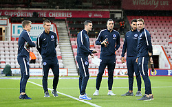 Brighton and Hove Albion's players inspect the pitch before the game against Bournemouth