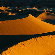 Sunrise over the Mesquite Dunes in Death Valley National Park.