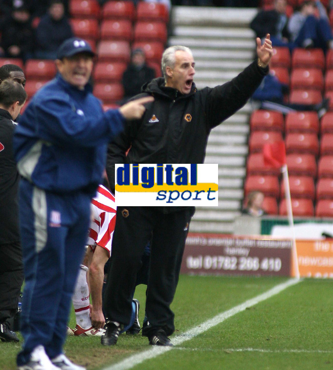 Photo: Mark Stephenson.<br />Stoke City v Wolverhampton Wanderers. Coca Cola Championship. 13/01/2007.<br />Wolves' Manager Mick McCarthy (R) with Wolves' manager Tony Pulis.