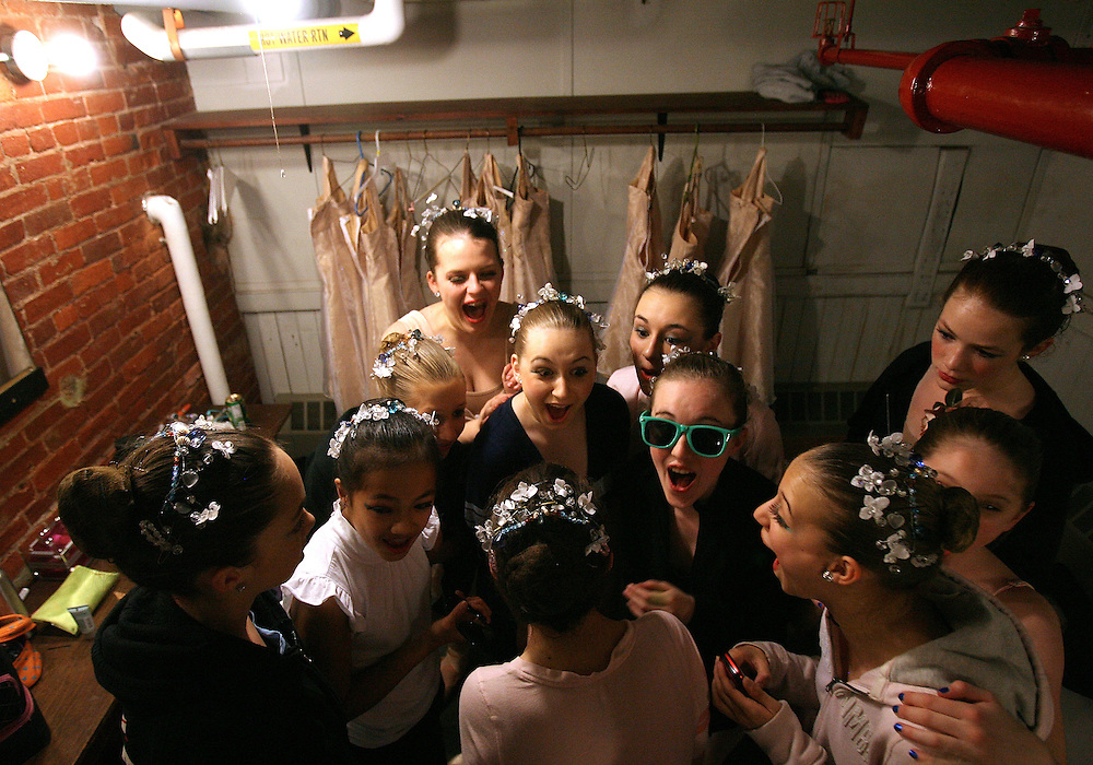 04/03/2009 Northhampton, MA-  Lani Dickinson, 14, and her friends goof off backstage during a dress rehearsal for Pioneer Valley Ballet's production of Beauty and the Beast.  Lani was born in China with a congenital defect and adopted by an American family.  Despite her disability, she trains hard as a ballerina and would like to someday be a professional dancer.