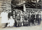 family, cook and workers in front of a Ryotei restaurant Yokosuka Japan early 1930s