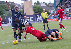 Dundee's Karl Madianga, Aberdeen's Gary Mackay-Steven and Dundee's Jesse Curran. Dundee 0 v 1 Aberdeen, SPFL Ladbrokes Premiership game played 11/8/2018 at Dundee stadium, Dens Park.