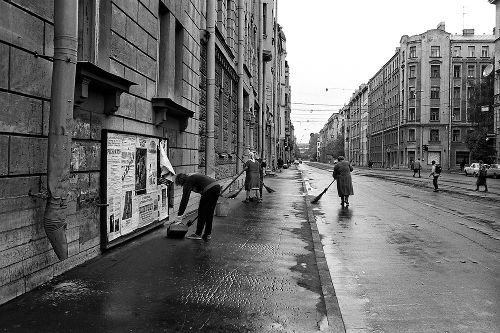 Street cleaning<br /> St Petersburg, Russia 1994