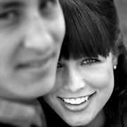 An engaged couple poses for a black and white portrait in Columbia, S.C. ©Travis Bell Photography