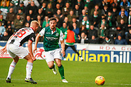 Martin Boyle of Hiberninan FC looks for a way around Cameron MacPherson of St Mirren during the Ladbrokes Scottish Premiership match between St Mirren and Hibernian at the Simple Digital Arena, Paisley, Scotland on 29th September 2018.