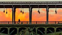 A pedestrian crossing over the Bir Hakeim Bridge over the River Seine at sunset, Paris, France.