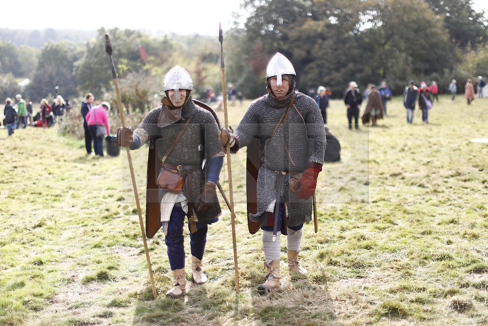 © Licensed to London News Pictures. 16/10/2016. East Sussex, UK. Re-enactors get ready for a re-enactment of the Battle of Hastings in East Sussex to mark the 950th anniversary of the defeat of King Harold by William of Normandy in a weekend long event on Sunday, 16 October 2016.  Photo credit: Tolga Akmen/LNP