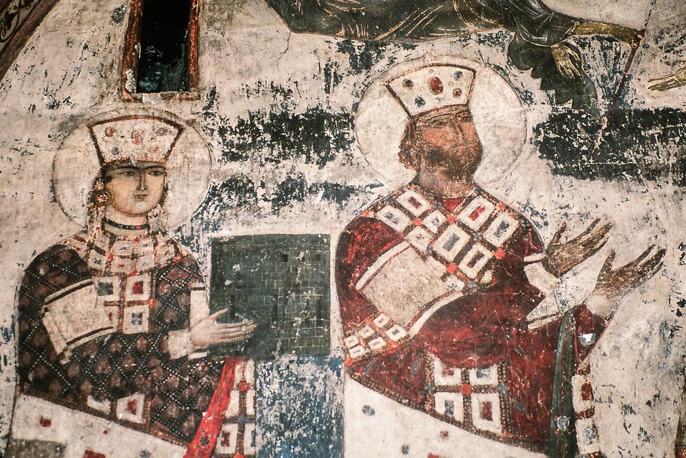Fresco of King Giorgi III and his daughter Queen Tamar, Vardzia Cave Monastery, The Country of Georgia