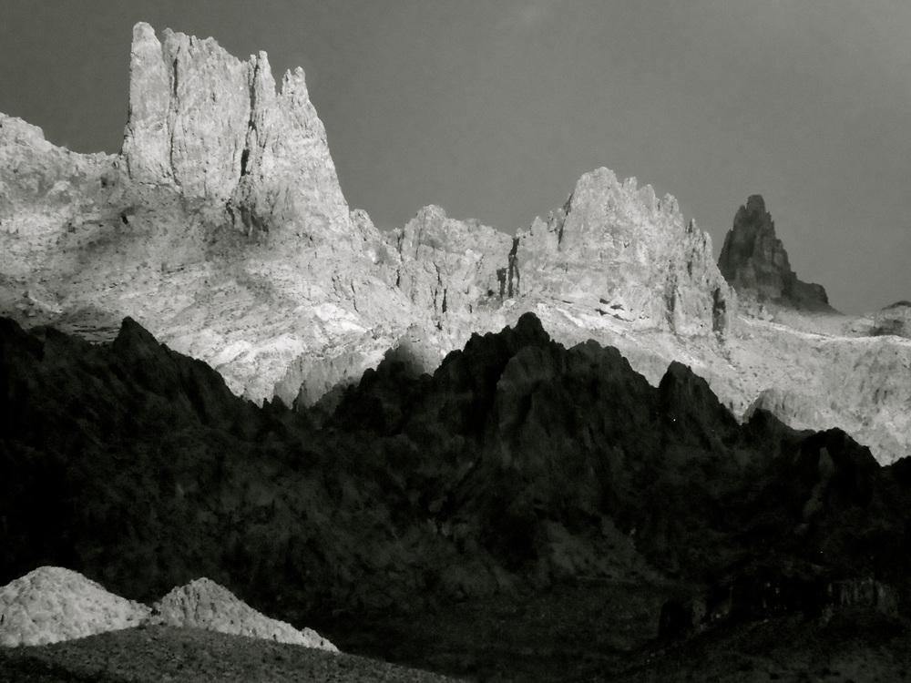 Shadows and light on desert pinnacles.