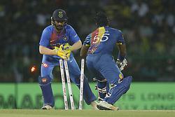 March 6, 2018 - Colombo, Sri Lanka - Sri Lankan cricketer Kusal Perera is stumed out during the 1st T20 cricket match of NIDAHAS Trophy between Sri Lanka and India at R Premadasa cricket ground, Colombo, Sri Lanka on Tuesday 6 March 2018  (Credit Image: © Tharaka Basnayaka/NurPhoto via ZUMA Press)