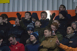 South stand after Falkirk's Lee Miller's goal. Falkirk 3 v 1 St Mirren, Scottish Championship game played 3/12/2016 at The Falkirk Stadium.