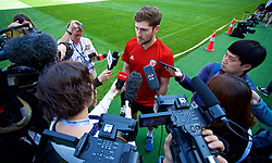 NANNING, CHINA - Tuesday, March 20, 2018: Wales' Ben Davies speaks to the media before a training session at the Guangxi Sports Centre ahead of the opening 2018 Gree China Cup International Football Championship match against China. (Pic by David Rawcliffe/Propaganda)