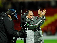 Photo: Leigh Quinnell/Sportsbeat Images.<br /> Watford v Bristol City. Coca Cola Championship. 01/12/2007. Bristol City manager Gary Johnson celebrates his teams win in front of the Sky TV cameras.