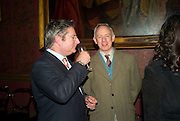 DOMINIC LAWSON AND MARK HUTCHINSON, Book launch for AN APPEAL TO REASON, A Cool Look at Global Warming by Nigel Lawson. Hosted by NIGELLA LAWSON, DUCKWORTH PUBLISHERS and ED VICTOR LTD.<br />The Garrick Club. London. 16 April 2008.  *** Local Caption *** -DO NOT ARCHIVE-© Copyright Photograph by Dafydd Jones. 248 Clapham Rd. London SW9 0PZ. Tel 0207 820 0771. www.dafjones.com.