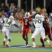 Louisville Cardinals quarterback Teddy Bridgewater (5) is seen during the NCAA Football Russell Athletic Bowl football game between the Louisville Cardinals and the Miami Hurricanes, at the Florida Citrus Bowl on Saturday, December 28, 2013 in Orlando, Florida. (AP Photo/Alex Menendez)