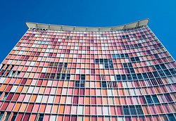 Colourful modern architecture of GSW office tower in Berlin Germany
